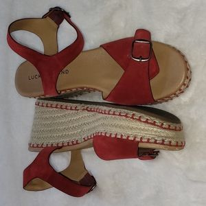 Lucky Brand Naveah Iii Espadrille Wedge Sandal In Red Suede Buckle Ankle Summer